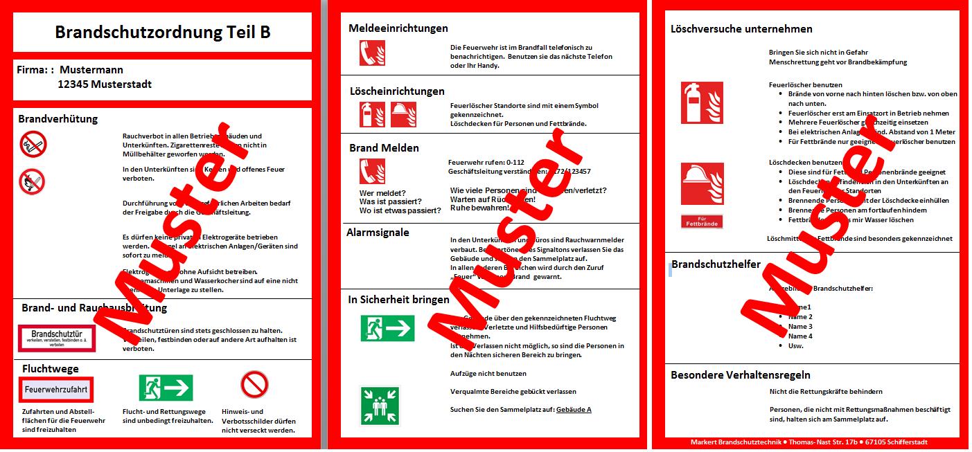 Brandschutzordnung Bso Teil B Din 14096
