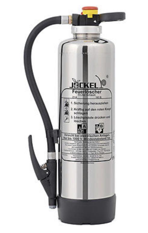 Berühmt Jockel Design Feuerlöscher 6kg Pulver 43A=12LE Chrom Silber HB62