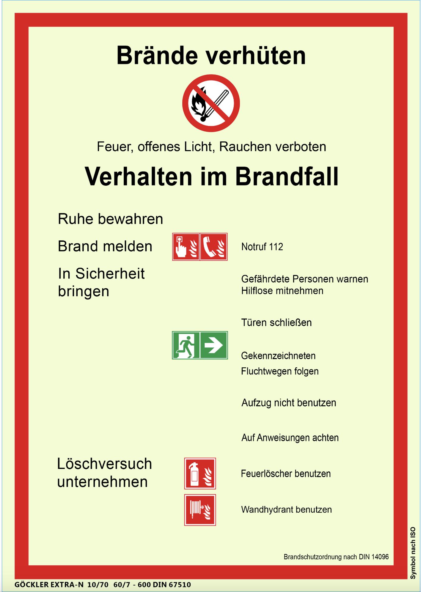 brandschutzordnung teil a iso7010 din 14096 aushang brandschutz nachleuchtend - Brandschutzordnung Muster